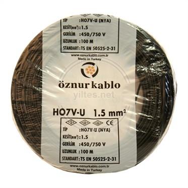 ÖZNUR 1,5 NYA Kablo - Siyah 100 Metre