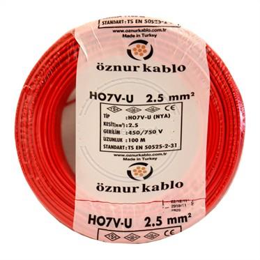 ÖZNUR 2,5 NYA Kablo - Kırmızı 100 Metre