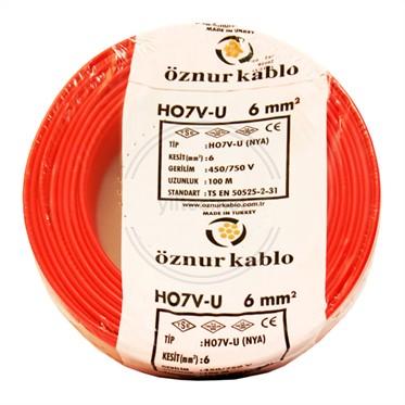 ÖZNUR 6 NYA Kablo - Kırmızı 100 Metre