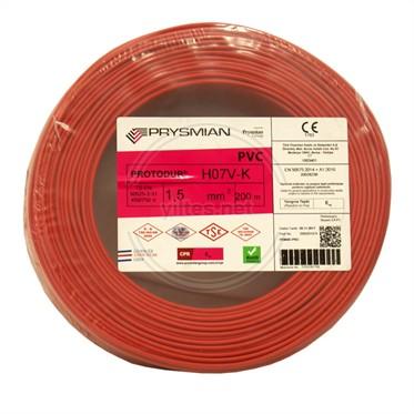 PRYSMIAN 1,5 NYAF Kablo - Kırmızı 200 Metre