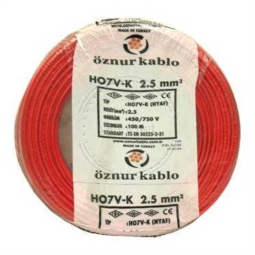ÖZNUR 2,5 NYAF Kablo - Kırmızı 100 Metre