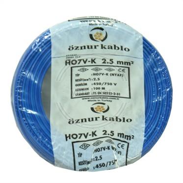 ÖZNUR 2,5 NYAF Kablo - Mavi 100 Metre