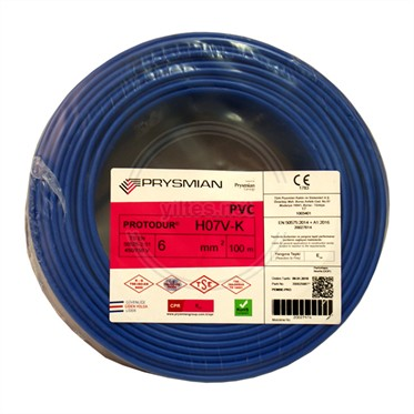 PRYSMIAN 6 NYAF Kablo - Mavi 100 Metre
