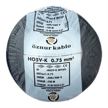 ÖZNUR 0,75 NYAF Kablo - Siyah 100 Metre