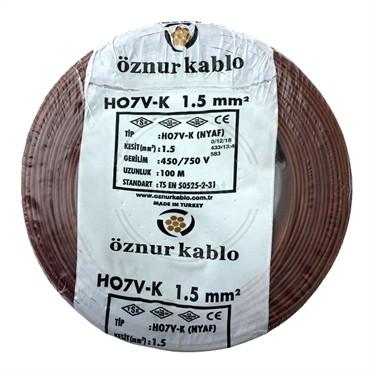 ÖZNUR 1,5 NYAF Kablo - Kahverengi 100 Metre