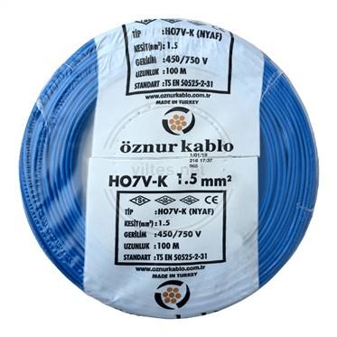 ÖZNUR 1,5 NYAF Kablo - Mavi 100 Metre