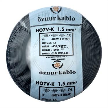 ÖZNUR 1,5 NYAF Kablo - Siyah 100 Metre