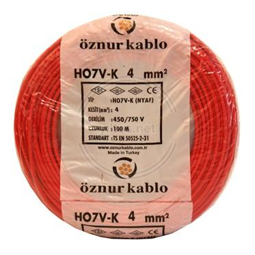 ÖZNUR 4 NYAF Kablo - Kırmızı 100 Metre