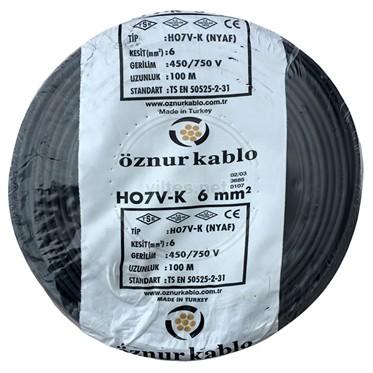 ÖZNUR 6 NYAF Kablo - Siyah 100 Metre