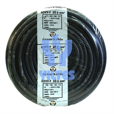 ÖZNUR 5x6 TTR Kablo - Siyah 100 Metre