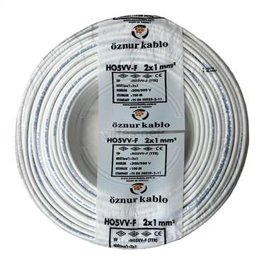ÖZNUR 2x1 TTR Kablo - Beyaz 100 Metre