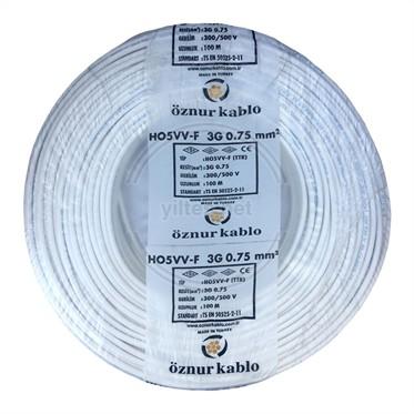 ÖZNUR 3x0,75 TTR Kablo - Beyaz 100 Metre