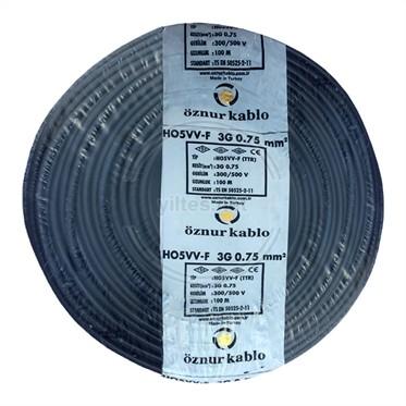 ÖZNUR 3x0,75 TTR Kablo - Siyah 100 Metre