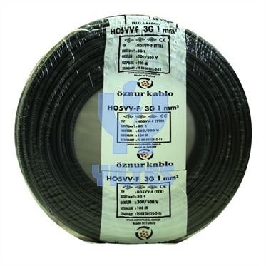 ÖZNUR 3x1 TTR Kablo - Siyah 100 Metre