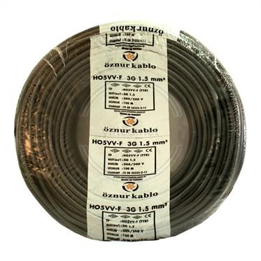 ÖZNUR 3x1,5 TTR Kablo - Siyah 100 Metre