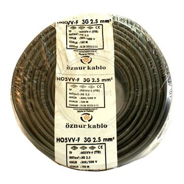 ÖZNUR 3x2,5 TTR Kablo - Siyah 100 Metre