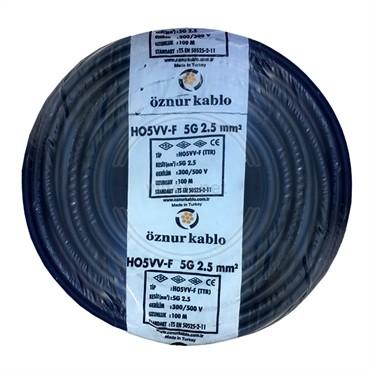 ÖZNUR 5x2,5 TTR Kablo - Siyah 100 Metre