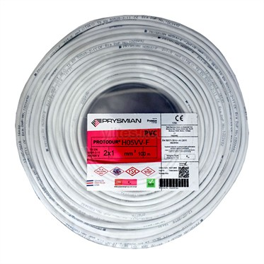 PRYSMIAN 2x1 TTR Kablo - Beyaz 100 Metre