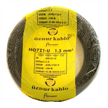 ÖZNUR 1,5 H07Z1-U Kablo - Siyah 100 Metre