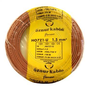ÖZNUR 1,5 H07Z1-U Kablo - Kahverengi 100 Metre