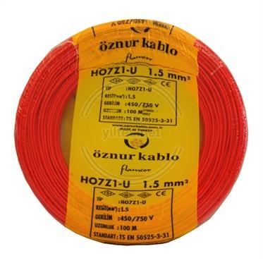 ÖZNUR 1,5 H07Z1-U Kablo - Kırmızı 100 Metre