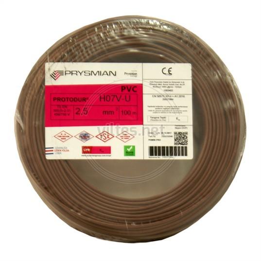 PRYSMIAN 2,5 NYA Kablo - Kahverengi 100 Metre
