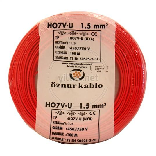 ÖZNUR 1,5 NYA Kablo - Kırmızı 100 Metre