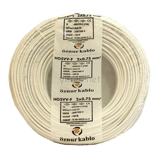 ÖZNUR 2x0,75 TTR Kablo - Beyaz 100 Metre