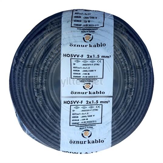 ÖZNUR 2x1,5 TTR Kablo - Siyah 100 Metre