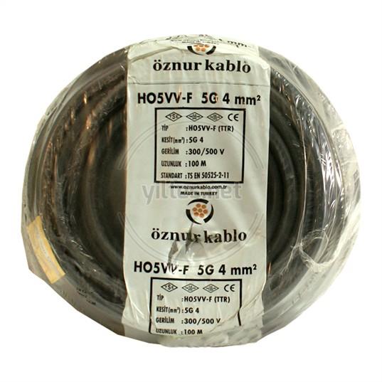 ÖZNUR 5x4 TTR Kablo - Siyah 100 Metre
