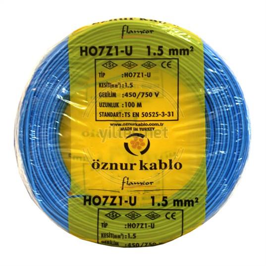 ÖZNUR 1,5 H07Z1-U Kablo - Mavi 100 Metre
