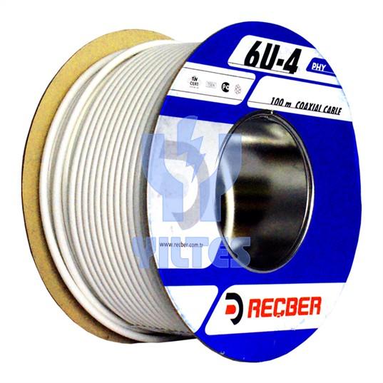 REÇBER RG6 U4 PHY-PVC Cu/Al Kablo - Beyaz 100 Metre